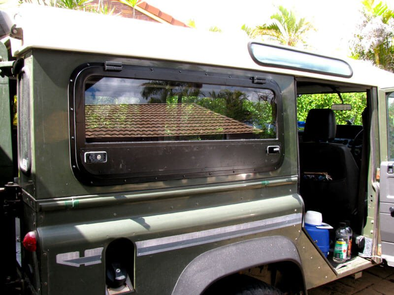 Land rover defender gullwing door installation roaming for 110 window unit