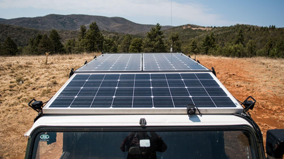 Defender Off Grid Camper Solar Panel Install Roaming The Outback Panels To Batteries Via Regulator